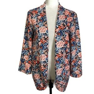 Lush Open Front Floral Blazer Size Small